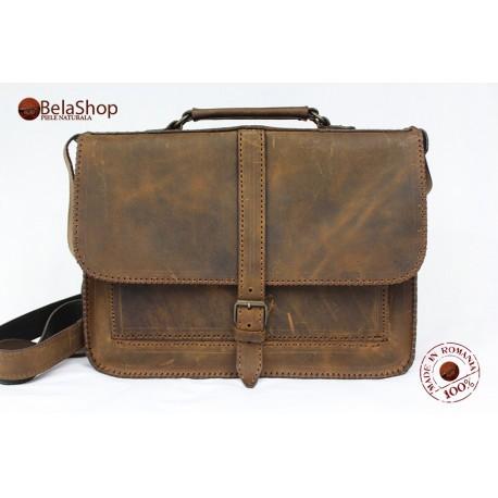GEANTA Postman Vintage Dark Brown