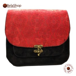 GEANTA TANIA BLACK&RED GRAVED