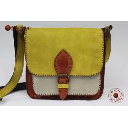 Geanta din piele naturala Sofia Mustard-White-Brown