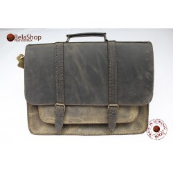 Servieta din piele naturala Postman Big Dark Brown Vintage 2K