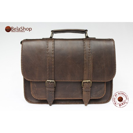 Servieta din piele naturala Postman Dark Brown Vintage 2L