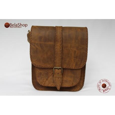 Geanta din piele naturala Hight Brown Vintage Light N