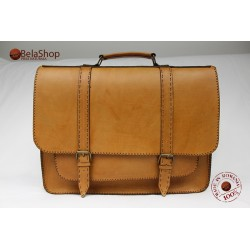 Servieta din piele naturala Postman Big Light Brown