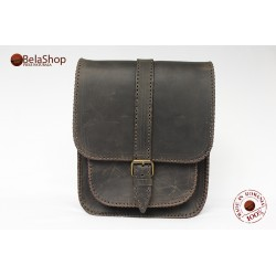 Geanta din piele naturala Hight Dark Brown Vintage OLD