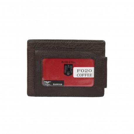 Port carduri cu clapa magnetica pentru bancnote din piele naturala F020 Maro