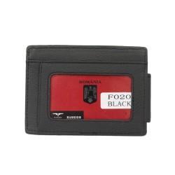 Port carduri cu clapa magnetica pentru bancnote din piele naturala F020 Negru