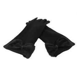 Manusi dama textile cu blanita MDM1 Negru