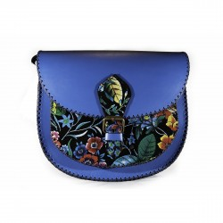 Tolba din piele naturala Blue&Flowers