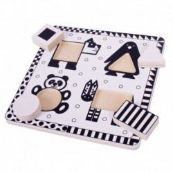 Puzzle alb-negru - animale si forme