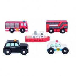 Set 5 vehicule din lemn