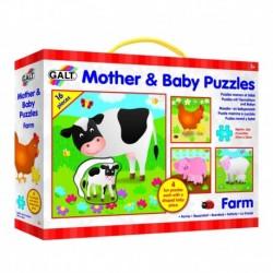 Set 4 puzzle-uri Mama si puiul-Ferma