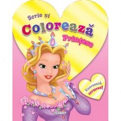 Scrie si coloreaza printese (roz)