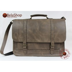 GEANTA POSTMAN BIG GRAY BROWN VINTAGE