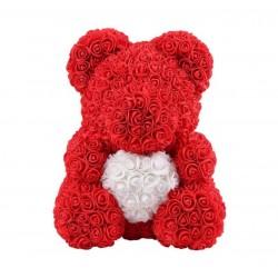 Ursulet din trandafiri de spuma Rosu Inima
