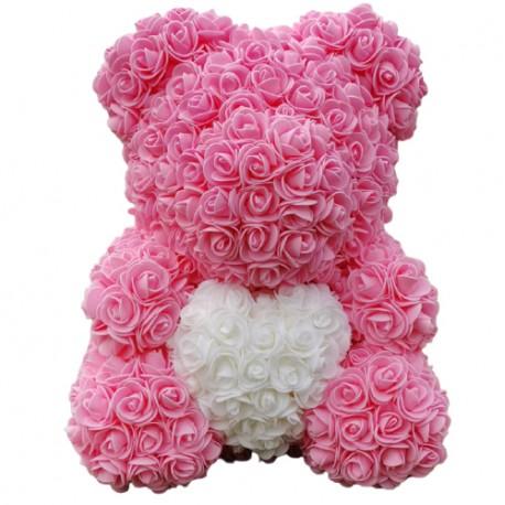 Ursulet din trandafiri de spuma Alb Inima