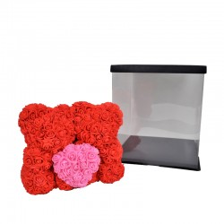 Doi ursuleti cu inimioara din trandafiri de spuma in cutie transparenta 25 cm