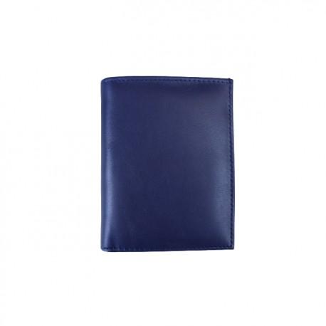 Portofel din piele naturala model slim tip carte F061 Blue