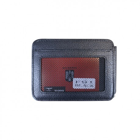 Port carduri din piele naturala cu clips pentru bancnote F91 Black