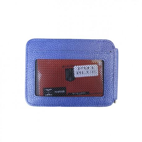 Port carduri din piele naturala cu clips pentru bancnote F91 Blue