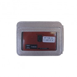 Port carduri din piele naturala cu clips pentru bancnote F91 Gri