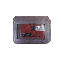 Port carduri din piele naturala cu clips pentru bancnote F91 Brown