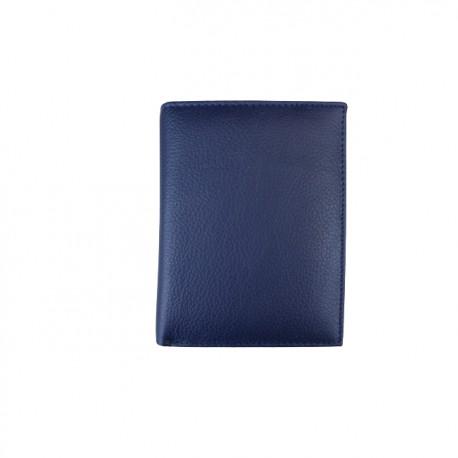 Portofel din piele naturala slim tip carte F081 Blue