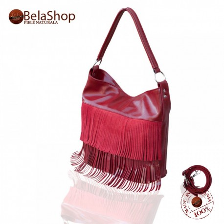 GEANTA MC11 - Scarlet Fringe Velur/Shiny Leather